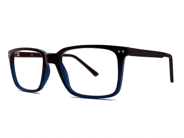 Gafas graduadas de pasta Bensor. Combinación de color negro y azul.