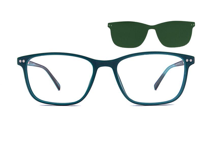 Gafas rectangulares de pasta azules con clip solar Lewis