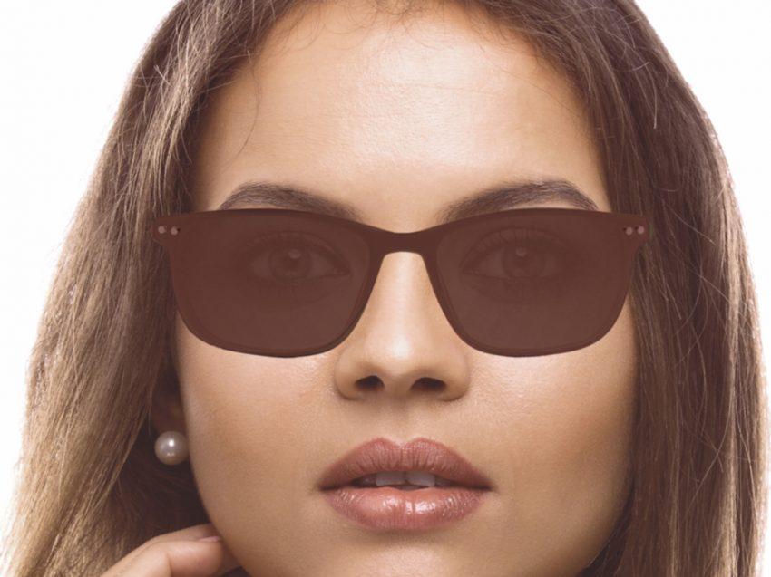 Gafas rectangulares de pasta marrones con clip solar Lewis para mujer