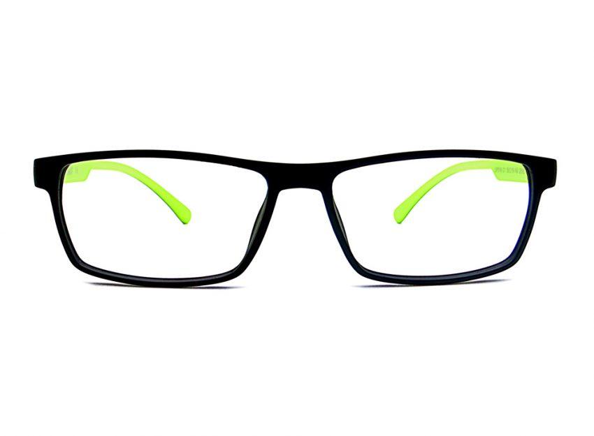Gafas graduadas de pasta rectangulares negras Nemo con patillas verdes.